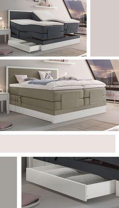 Luxus-Boxspringbett mit sachter, elektrischer Verstellung. Extravaganter Komfort für Ihr Schlafzimmer. #boxspringbett #komfort #luxus #schlafzimmer #bett hotelbett http://www.betten.de/modernes-boxspringbett-mit-motor-weisser-buchensockel-pando.html