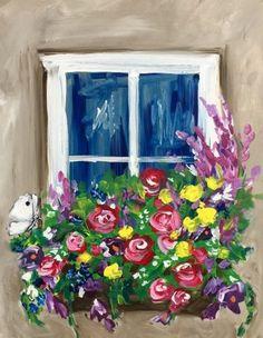 paint night window box blooms pattern - Google Search