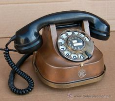 telefono de cobre antiguo funcionando, timbre de doble campana ,,,tel365