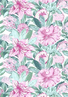 Gardenia (pink) by Matleena Issakainen Zoffany Fabrics, Extravagant Homes, Prestigious Textiles, Marimekko, Cool Wallpaper, Herb Garden, Geometric Shapes, Cover Design, Tapestry