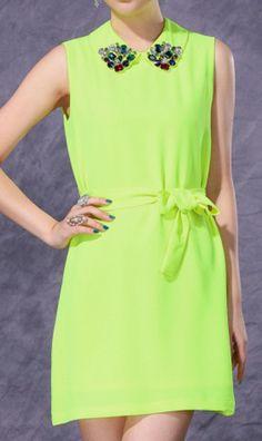 Vintage rhinestone dress with belt free 88085 Green