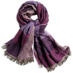 Chico's Paisley Stripe Purple Scarf ($15) ❤ liked on Polyvore featuring accessories, scarves, eggplant, purple scarves, striped scarves, paisley shawl, purple shawl and paisley scarves