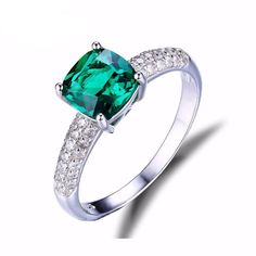 Gold Filled Emerald CZ Birthstone Silver Ring