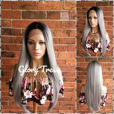 Straight Lace Front Wig, Wigs Ombre Platinum Silver, Glory Tress Wigs, Long Gray Wig, Ombre Wig // FLAWLESS Micro Braids Human Hair, Remy Human Hair, Senegalese Twist Braids, Braids Wig, Black Girls Hairstyles, Short Hairstyles For Women, School Hairstyles, Prom Hairstyles, Grey Wig