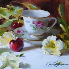 "Daily Paintworks - ""Teacup, Petunias, and Cherries"" by Elena Katsyura"