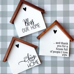 Wood House Decorative Sign House Shaped Wood Sign Bless Our   Etsy Wooden Crafts, Diy And Crafts, Scrap Wood Crafts, Paper Crafts, Rustic Crafts, Diy Wood Signs, Sayings For Wood Signs, Rustic Wood Signs, Pallet Signs