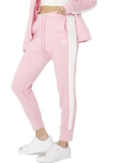 PUMA Archive Logo T7 Pants yer style just can't be beat, babe. Stay comfy while lookin' cute in these pants that feature a baby pink construction, drawstring waistband, banded anklez, and white panels goin' down yer sidez.