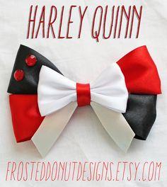 Harley Quinn Inspired Bow! Batman Joker DC Comics by FrostedDonutDesigns on Etsy https://www.etsy.com/listing/184867646/harley-quinn-inspired-bow-batman-joker