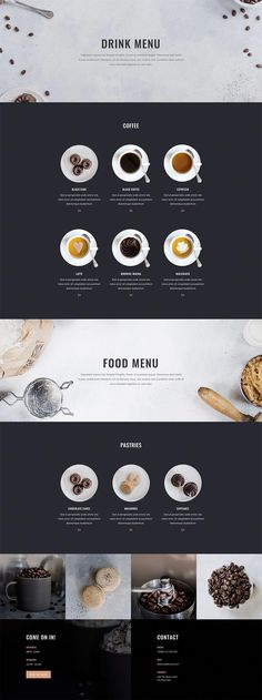 This eight-page coffee shop layout pack has everything you could possibly expect from a coffee shop website. all of the practical information is continuously present on each layout of the website. Coffee Shop Branding, Coffee Shop Menu, Coffee Shop Design, Coffee Shops, Coffee Packaging, Coffee Lovers, Menu Layout, Shop Layout, Layout Design