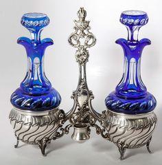 Antique French Sterling Silver Cruet Stand, Oil & Vinegar, Cobalt & Clear Glass Decanters, EC