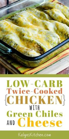 We loved this Low-Carb Twice-Cooked Chicken with Green Chiles and Cheese when we tested the recipe and this might become one of your favorites for an easy after-work dinner that's low-carb, Keto, low-glycemic, and South Beach Diet friendly. Healthy Low Calorie Meals, Low Carb Meal Plan, Low Carb Keto, Healthy Snacks, Healthy Eating, Low Carb Chicken Recipes, Low Carb Recipes, New Recipes, Cooking Recipes