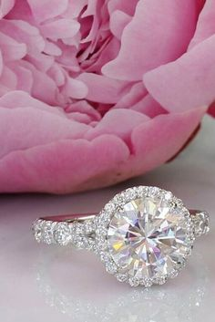 engagement rings for women diamond round cut halo white gold