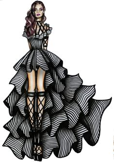 Striped dress fashion illustration by Fashion Illustration Template, Dress Illustration, Fashion Illustration Dresses, Fashion Illustrations, Sketch Fashion, Fashion Design Drawings, Dress Sketches, Dress Drawing, Stripes Fashion