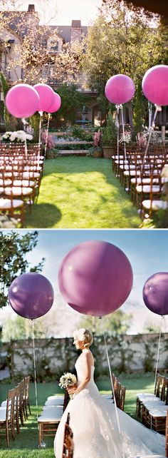 love these big round purple wedding balloons lining the ceremony aisle! ~  we ❤ this! moncheribridals.com