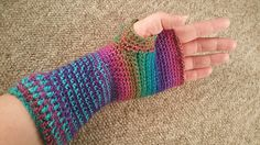 I made this pattern up because I needed some new winter gloves and wanted some that went a bit further down my wrist. I had already made a beautiful cowl from a pattern here on Ravelry so used up the yarn I had left over to make these gloves.