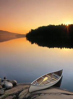 Why yes I'd like to go for a little evening canoe trip. (no mosquitoes invited).  George Lake, Kelarney Provincial Park, Ontario, Canada. Photo by Anita Moorjani