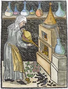 Alchemy:  Woodcut Of Distillation From Michael Puff Von Schrick 1478.  An #Alchemy artwork.