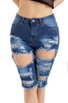 ec0405d33c Blue Destroyed Frayed Hem Pocket Bermuda Denim Shorts Blue Jean Shorts,  Ripped Bermuda Shorts,