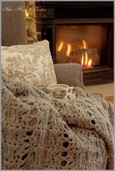 Aiken House & Gardens: The Comforts of Home, Snuggling in by the fire in a comfy chair with a handmade throw and a cup of hot tea