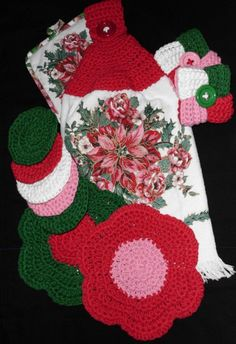 Crochet Dish towel with crochet topper/2 Dish cloths/2 Tawashi/5 Coaster*~L@@K~*Christmas Time!  All hand made by me Joni .100% cotton (Sugar and Cream Thread)  2 Washcloths  5 coasters  2 Crochet Tawashi Scrubbers/Scrubby's  1 Dishtowel with Crochet topper  1 Pot holder  Tawashi Scrubbers have been used in Japan for about 25 years. In Japan the yarn normally used to make Tawashi has anti bacterial qualities, But unfortunately, this yarn isn't readily available in the United States yet. So…