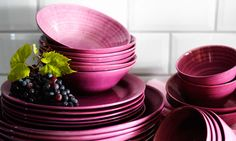Forsla plates and bowls from IKEA. The colour of raspberries, and with that uneven rippling stoneware finish, these look as if they've been transported straight from a sun-baked Provencal chateau.
