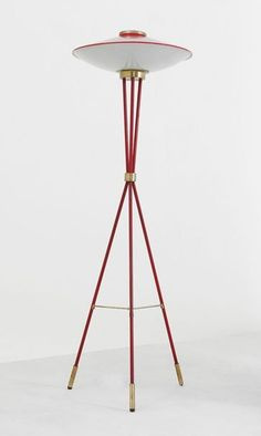 Anonymous; Enameled Metal, Brass and Opaline Glass Floor Lamp by Stilnovo, c1950