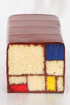 An Art gallery's Mondrain loaf cake