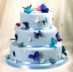 Blue Butterfly Wedding Cake - wedding cake with blue flowers Butterfly Wedding Cake, Butterfly Cakes, Blue Butterfly, Gorgeous Cakes, Pretty Cakes, Amazing Cakes, Cake Boss Wedding, Wedding Cakes, Bolo Floral