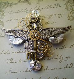Steampunk Aviator Medal/Brooch (M13) - Silver Wings and Antique Brass Key - Coils and Gears - Swarovski Crystals