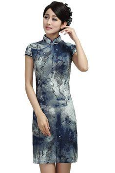 Bigood Chinese Short Sleeve Cotton Cheongsam Evening Dress Print Qipao at Amazon Women's Clothing store: