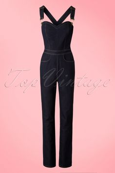 Collectif Clothing Denise Dungarees in Navy 18885 20160601 0006W