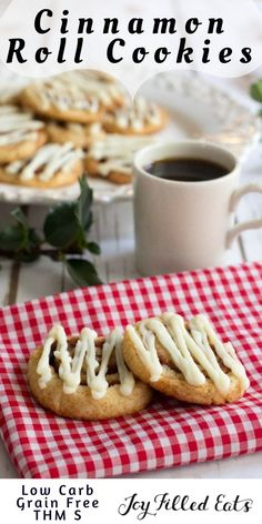 Cinnamon Roll Cookies - Low Carb, Sugar/Egg/Gluten/Grain Free, THM S. If you like Cinnamon Rolls you have to try these Cinnamon Roll Cookies. They have the delicious cinnamon flavor and cream cheese icing in a cookie form. via @joyfilledeats