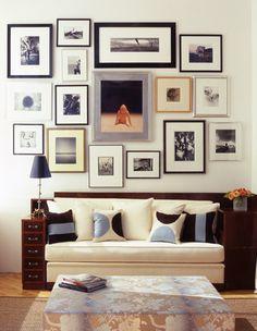 decoracao na parede com quadros de fotos