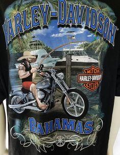 5b961e714 Harley Davidson Motorcycles 2XL Black T Shirt Bahamas Fishing Pole Boats