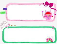 Planner Pages, Label Stickers, Stationery, Templates, Cartoon, Texture, Frame, Cute, Pink