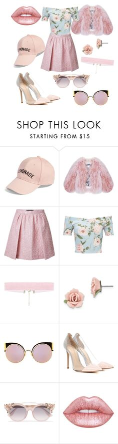 """Cotton candy"" by reb-hood ❤ liked on Polyvore featuring Amici Accessories, Florence Bridge, Giambattista Valli, Miss Selfridge, 1928, Fendi, Gianvito Rossi, Jimmy Choo and Lime Crime"
