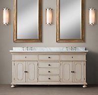 Restoration Hardware's St. James Double Vanity Sink:We've translated the architectural classicism of turn-of-the-century design into an artisan-crafted collection for the bath.
