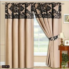 Cream & Black Luxurious Pencil Pleat Curtains With Tie Backs 90x90