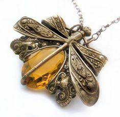 Amber dragonfly necklace, dragonfly jewelry, filigree jewelry statement necklace, Victorian pendant necklace, Art Nouveau bug jewelry
