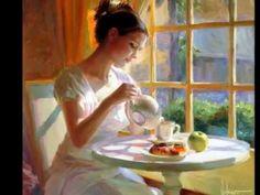 """Hour of Tea"" by Vladimir Volegov, painting, cm, oil on canvas Paintings I Love, Beautiful Paintings, Painting Pictures, Vladimir Volegov, Ouvrages D'art, Fine Art, Oeuvre D'art, Painting & Drawing, Amazing Art"