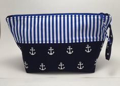 Nautical Anchor Knitting Project Bag  Navy by WalesStreetDesign