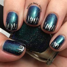 Winter nail art, tree nail art, night nail art, pine tree nail art, forest nail art