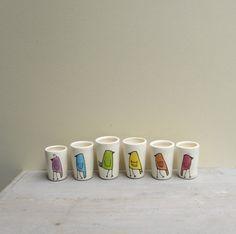 Mini bird vase set of six rainbow bird bud vases by catherinereece,