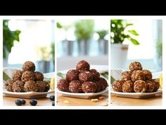 3 recipes to make healthy no-bake energy bites Healthy Protein Bars, Healthy Cookies, Healthy Snacks, Healthy Recipes, Healthy Peanut Butter, Healthy Baking, Granola, A Food, Good Food