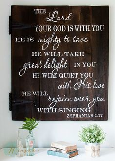 """""""The Lord your God is with You"""" Wood Sign {customizable} - Signs by Aimee Weaver - Very beautiful. I would love to have some of her artwork in my home."""