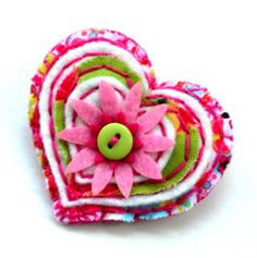 Fabric and felt brooch heart by mollymoodesign