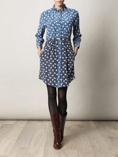 Blue on  blue, LEVEL IV: THESE HUES. So good! Boy. by Band of Outsiders adds a little quirk to this shirtdress with a cartoonish dog motif (that's somehow totally grown-up).