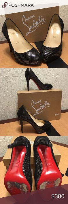 Christian Louboutin high heels 100% Authentic CL Declic 120 Suede S Square Metal. Size 35. Comes with box. Used a couple times for an event. They're in mint great condition please view pics. Also comes with extra heel replacement tips. Christian Louboutin Shoes Heels