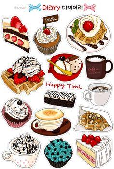 Food Drawing, Drawing For Kids, Kawaii Drawings, Cute Drawings, Cute Patterns Wallpaper, Starbucks Menu, Bubble Milk Tea, Dessert Illustration, Food Sketch