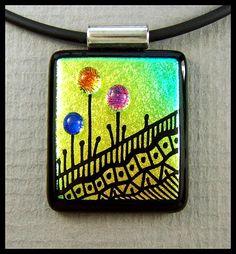 Original dichroic glass pendant...Hand Engraved Bubble Flowers...SRA